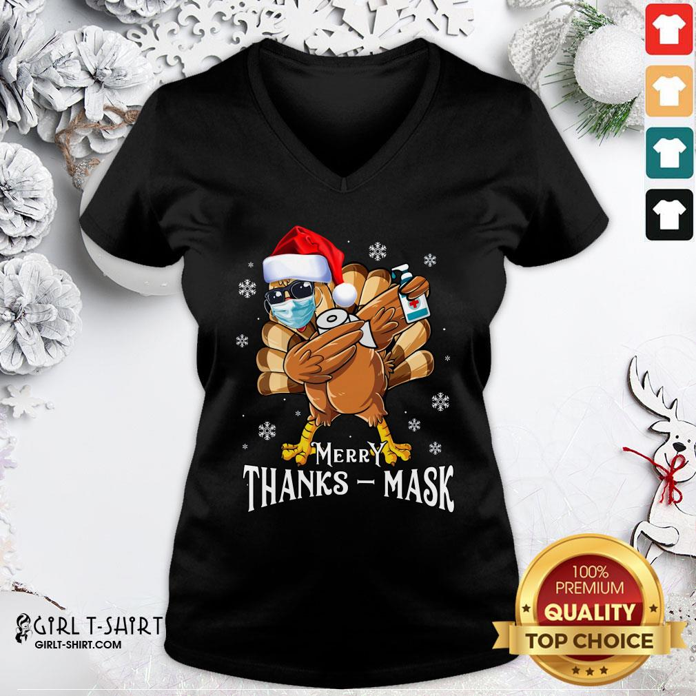 Official Thanksmas 2020 Turkey Dabbing Wearing Mask Christmas V-neck - Design By Girltshirt.com