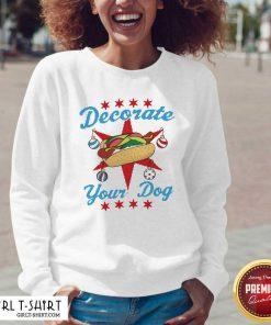 Decorate Your Dog Hot Dog Mery Christmas V-neck- Design By Girltshirt.com