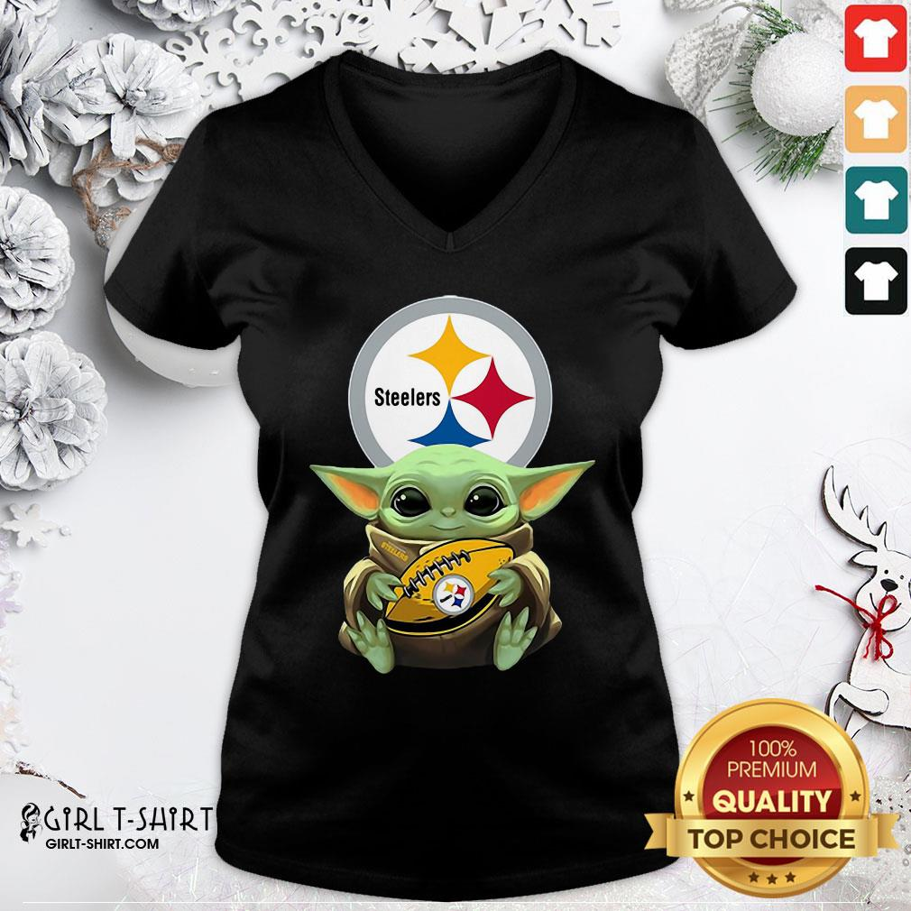 Perfect Baby Yoda Star Wars Steelers V-neck - Design By Girltshirt.com
