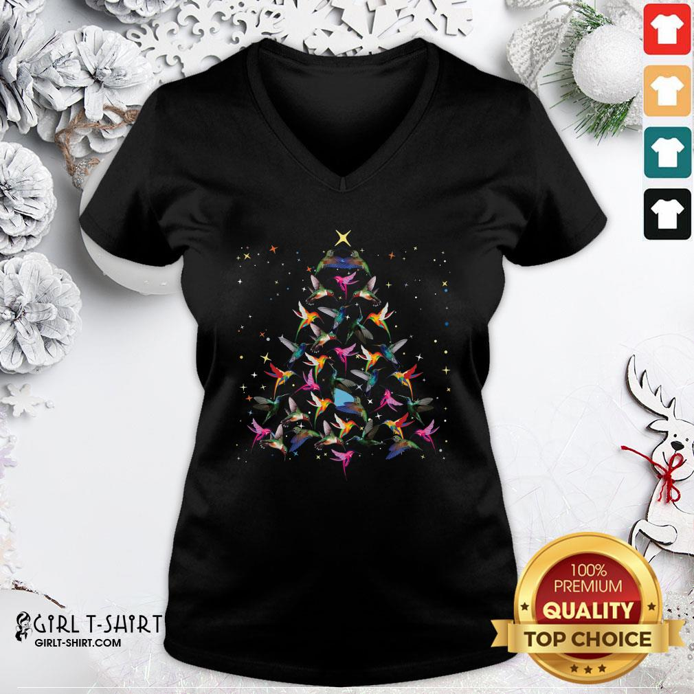 Pool Hummingbird Christmas Tree Sweater V-neck - Design By Girltshirt.com