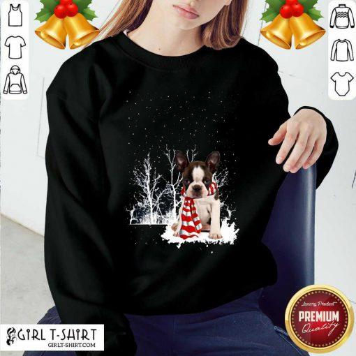 Boston Terrier Snow Scarf Christmas Sweatshirt - Design By Girltshirt.com