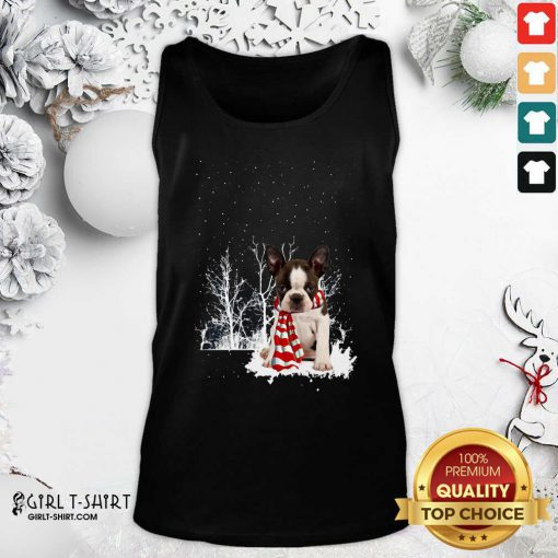 Boston Terrier Snow Scarf Christmas Tank Top - Design By Girltshirt.com