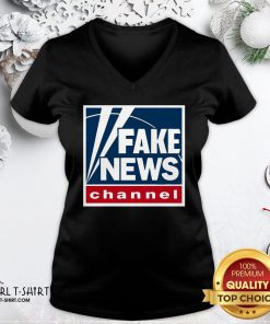 Premium Fake News Channel V-neck- Design By Girltshirt.com