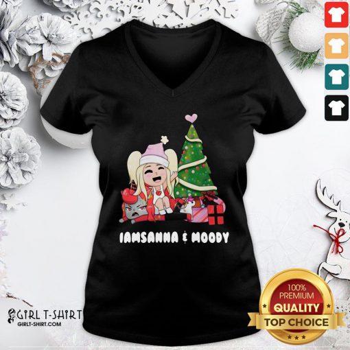 Premium I Am Sanna And Moody Christmas V-neck - Design By Girltshirt.com