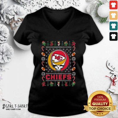 Kansas City Chiefs Grateful Dead Christmas Ugly V-neck - Design By Girltshirt.com
