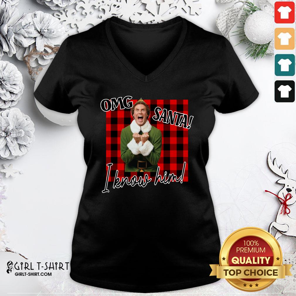 Premium Plaid Buddy The Elf OMG Santa I Know Him V-neck - Design By Girltshirt.com