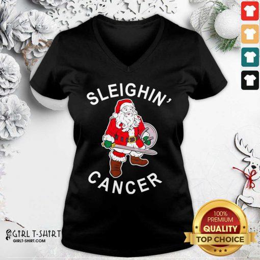 Premium Sleighin Cancer Santa Christmas V-neck- Design By Girltshirt.com