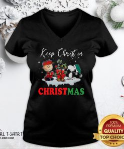 Snoopy And Charlie Brown Keep Christ In Christmas 2020 V-neck- Design By Girltshirt.com
