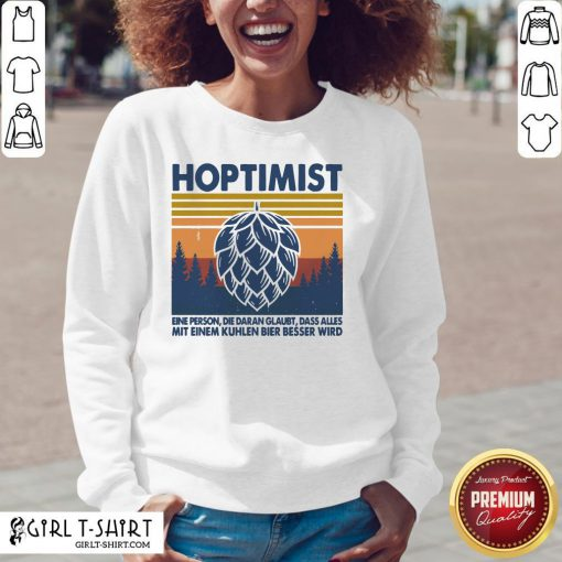 This Hoptimist A Person Who Believes Everything Vintage Retro V-neck- Design By Girltshirt.com