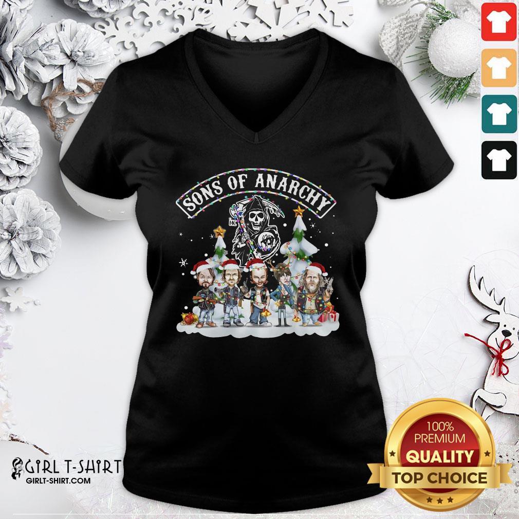 Tomato Sons Of Anarchy Santa Light Christmas V-neck - Design By Girltshirt.com