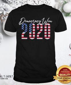 Top Democracy Won 2020 American Flag Shirt- Design By Girltshirt.com