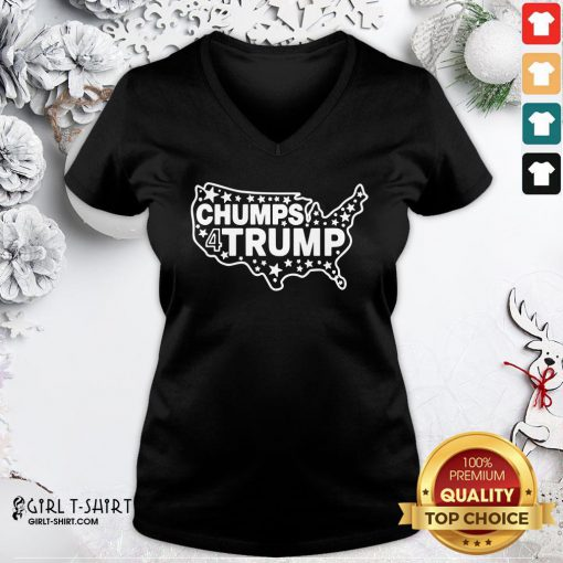 Well Chumps For Trump USA Map V-neck- Design By Girltshirt.com