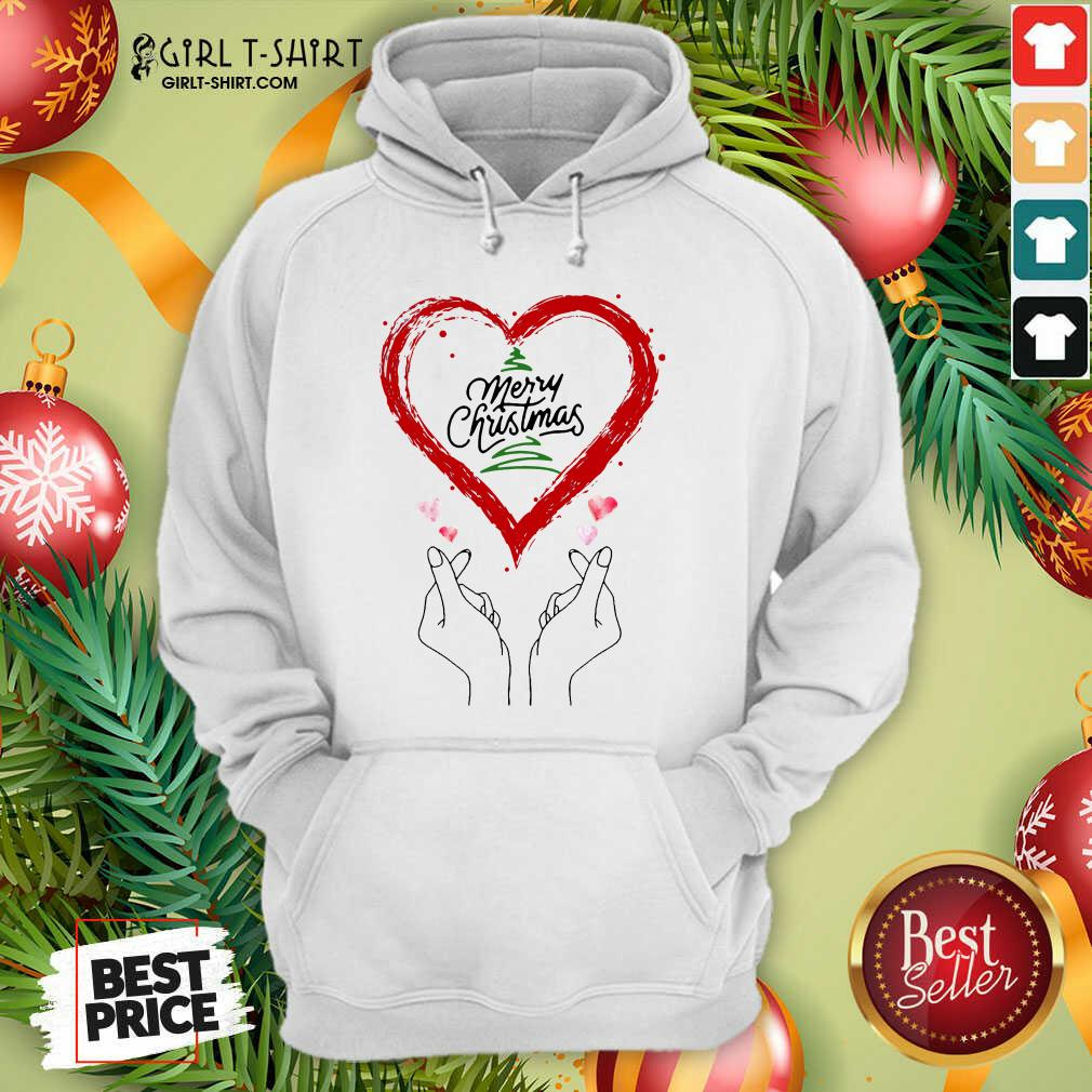 Well Merry Christmas Finger Heart Hoodie - Design By Girltshirt.com