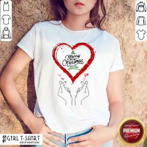 Merry Christmas Finger Heart Shirt - Design By Girltshirt.com