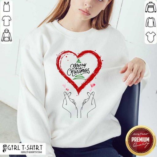 Merry Christmas Finger Heart Sweatshirt- Design By Girltshirt.com
