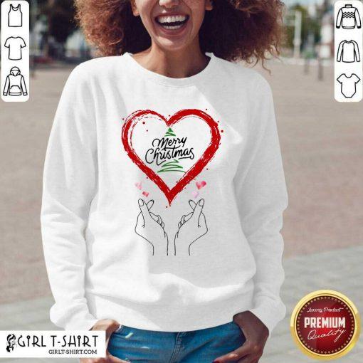 Merry Christmas Finger Heart V-neck - Design By Girltshirt.com