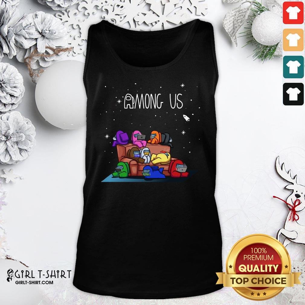 Yellow Among Us The Space Galaxy Finding Impostor Tank Top - Design By Girltshirt.com