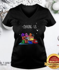 Yellow Among Us The Space Galaxy Finding Impostor V-neck - Design By Girltshirt.com