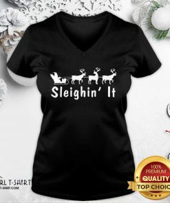 Sleighin It Christmas V-neck - Design By Girltshirt.com