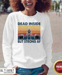 Weightlifting Skeleton Dead Inside But Strong Af Vintage V-neck - Design By Girltshirt.com