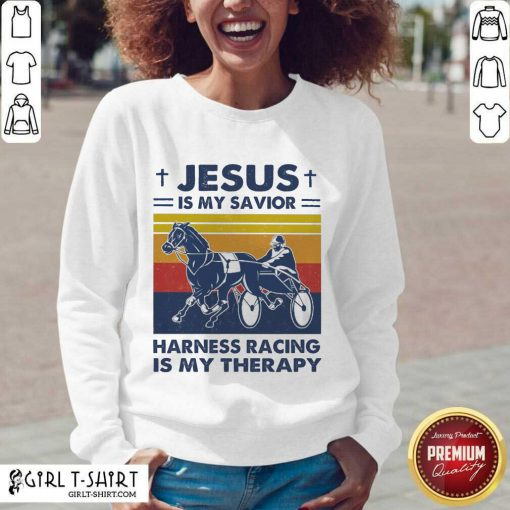 Jesus Is My Savior Harness Racing Is My Therapy Vintage V-neck- Design By Girltshirt.com
