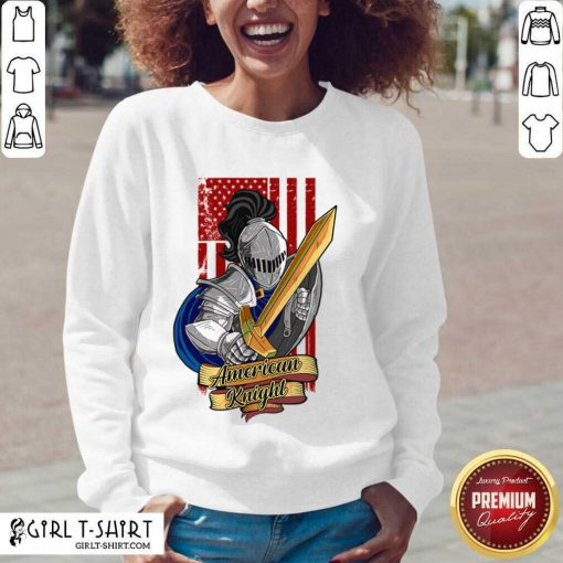 Knights Lover American Knight With Sword And Flag V-neck - Design By Girltshirt.com