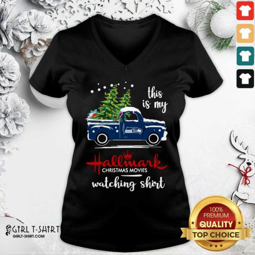 Seattle Seahawks This Is My Hallmark Christmas Movies Watching V-neck - Design By Girltshirt.com