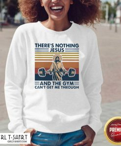 There's Nothing Jesus And The Gym Getme Through Vintage V-neck- Design By Girltshirt.com