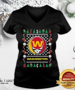 Washington Football Team Grateful Dead Ugly Christmas V-neck- Design By Girltshirt.com