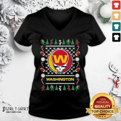 Washington Football Team Grateful Dead Ugly Christmas V-neck- Design By Girltshirt.com