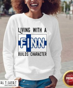 Living With A Finn Builds Character V-neck- Design By Girltshirt.com