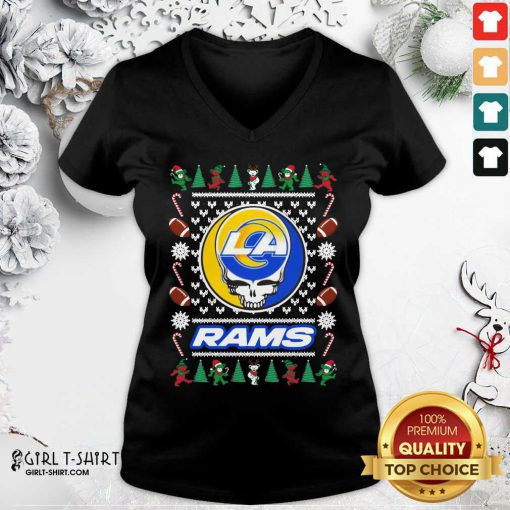 Los Angeles Rams Grateful Dead Ugly Christmas V-neck - Design By Girltshirt.com