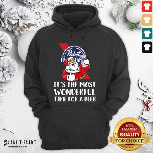 Pabst Blue Ribbon It's The Most Wonderful Time For A Beer Hoodie- Design By Girltshirt.com