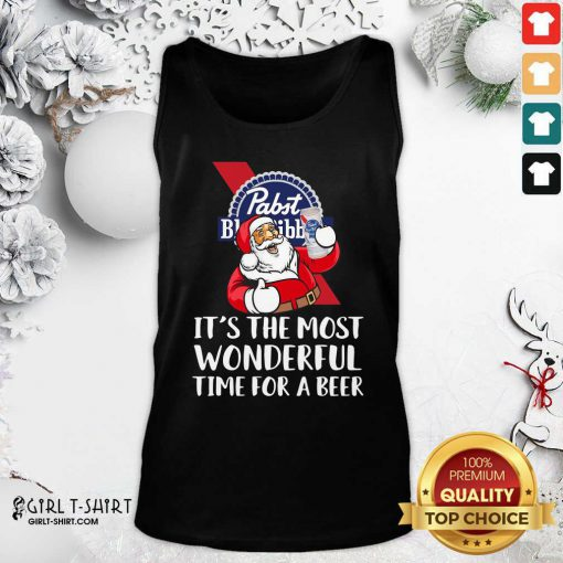 Pabst Blue Ribbon It's The Most Wonderful Time For A Beer Tank Top - Design By Girltshirt.com