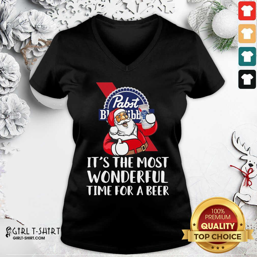Pabst Blue Ribbon It's The Most Wonderful Time For A Beer V-neck- Design By Girltshirt.com