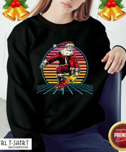 Retro Sunset 80s Christmas Skateboarding Santa Funny Christmas Sweatshirt - Design By Girltshirt.com