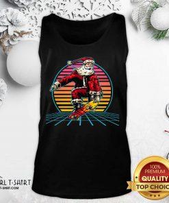 Retro Sunset 80s Christmas Skateboarding Santa Funny Christmas Tank Top - Design By Girltshirt.com