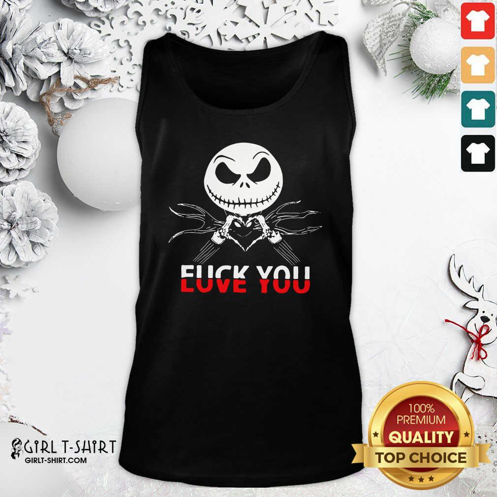 Jack Skeleton Fuck You Tank Top- Design By Girltshirt.com