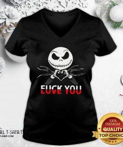 Jack Skeleton Fuck You V-neck- Design By Girltshirt.com