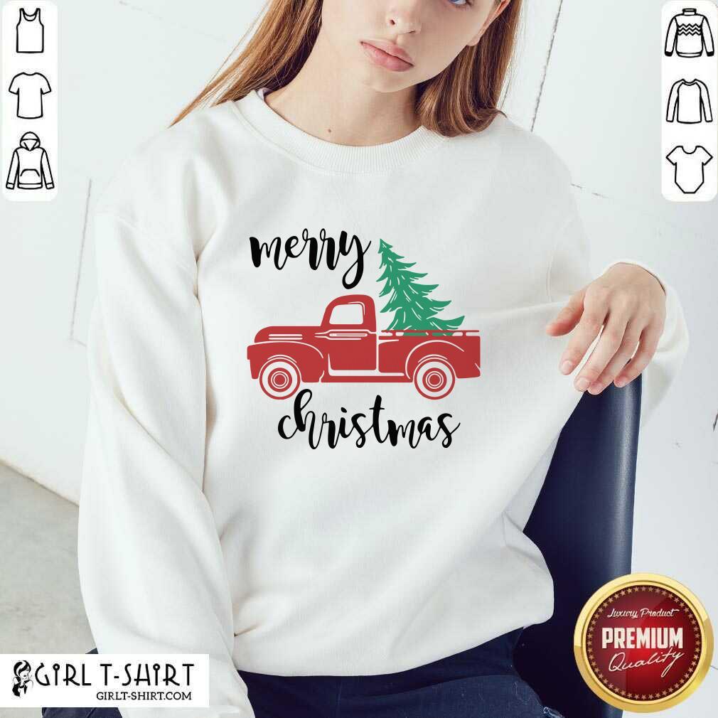 Merry Christmas Truck Christmas Sweatshirt - Design By Girltshirt.com
