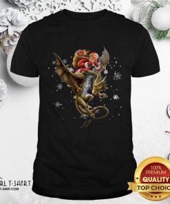 Santa Claus Riding Dragon Christmas Shirt - Design By Girltshirt.com