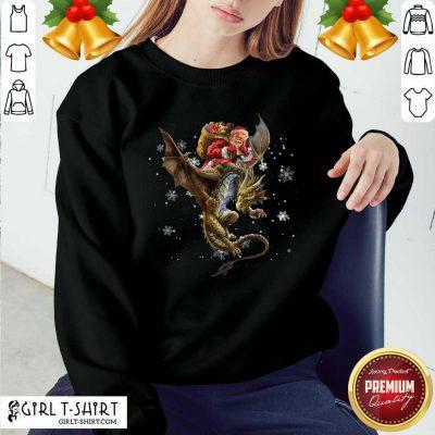 Santa Claus Riding Dragon Christmas Sweatshirt - Design By Girltshirt.com