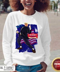 Trump Pence 2020 American Flag V-neck- Design By Girltshirt.com