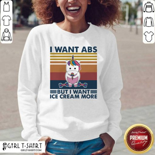 Unicorn I Want Abs But Want Ice Cream More Vintage V-neck - Design By Girltshirt.com