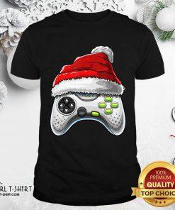 Video Game Controller Santa Hat Christmas Shirt - Design By Girltshirt.com
