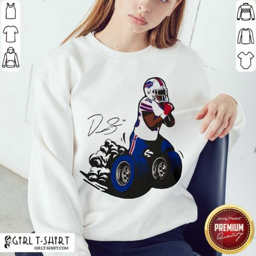 Buffalo Bills Fan Box Devin Singletary Motor Signature Sweatshirt- Design By Girltshirt.com