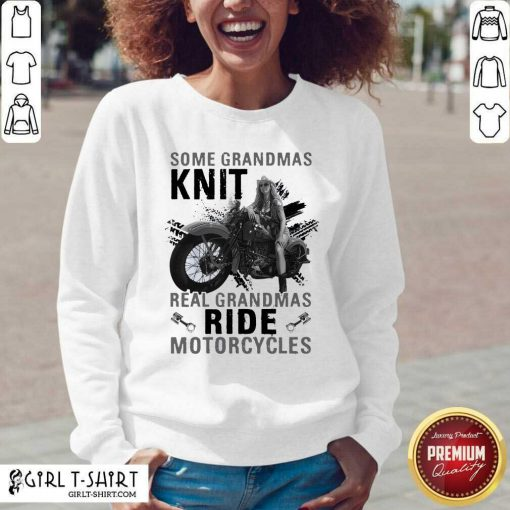Some Grandmas Knit Real Grandmas Ride Motorcycles Funny V-neck - Design By Girltshirt.com
