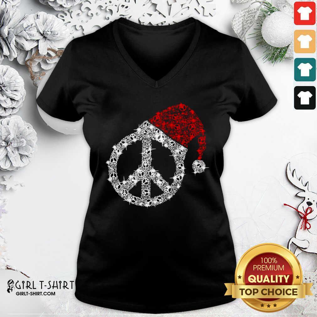 Hippie Diamond Hat Merry Christmas V-neck - Design By Girltshirt.com