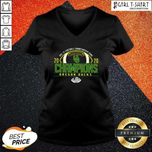 Oregon Ducks 2020 PAC-12 Football Champions V-neck- Design By Girltshirt.com