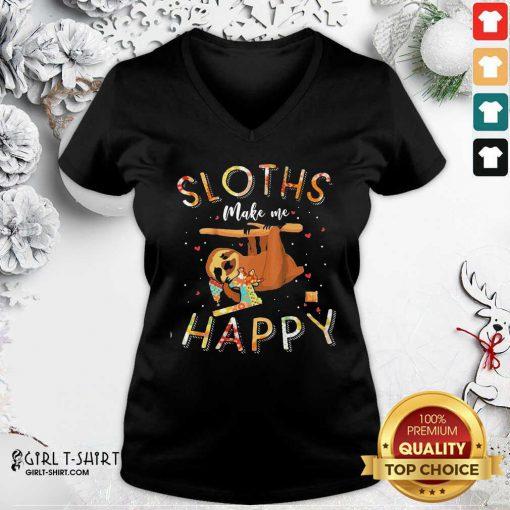 Sloths Make Me Happy Sewing V-neck - Design By Girltshirt.com